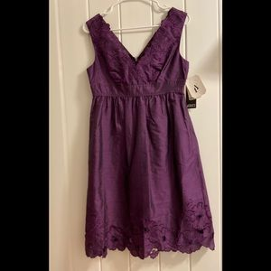 New  Adrianna Papell Women's 4 Purple Silk Dress